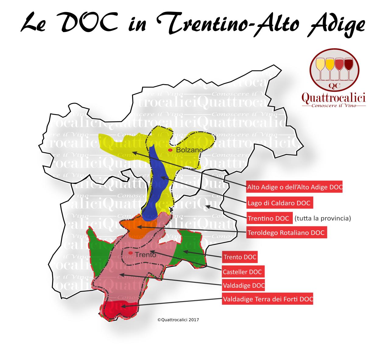 Mappa Denominzioni DOC Trentino-Alto Adige