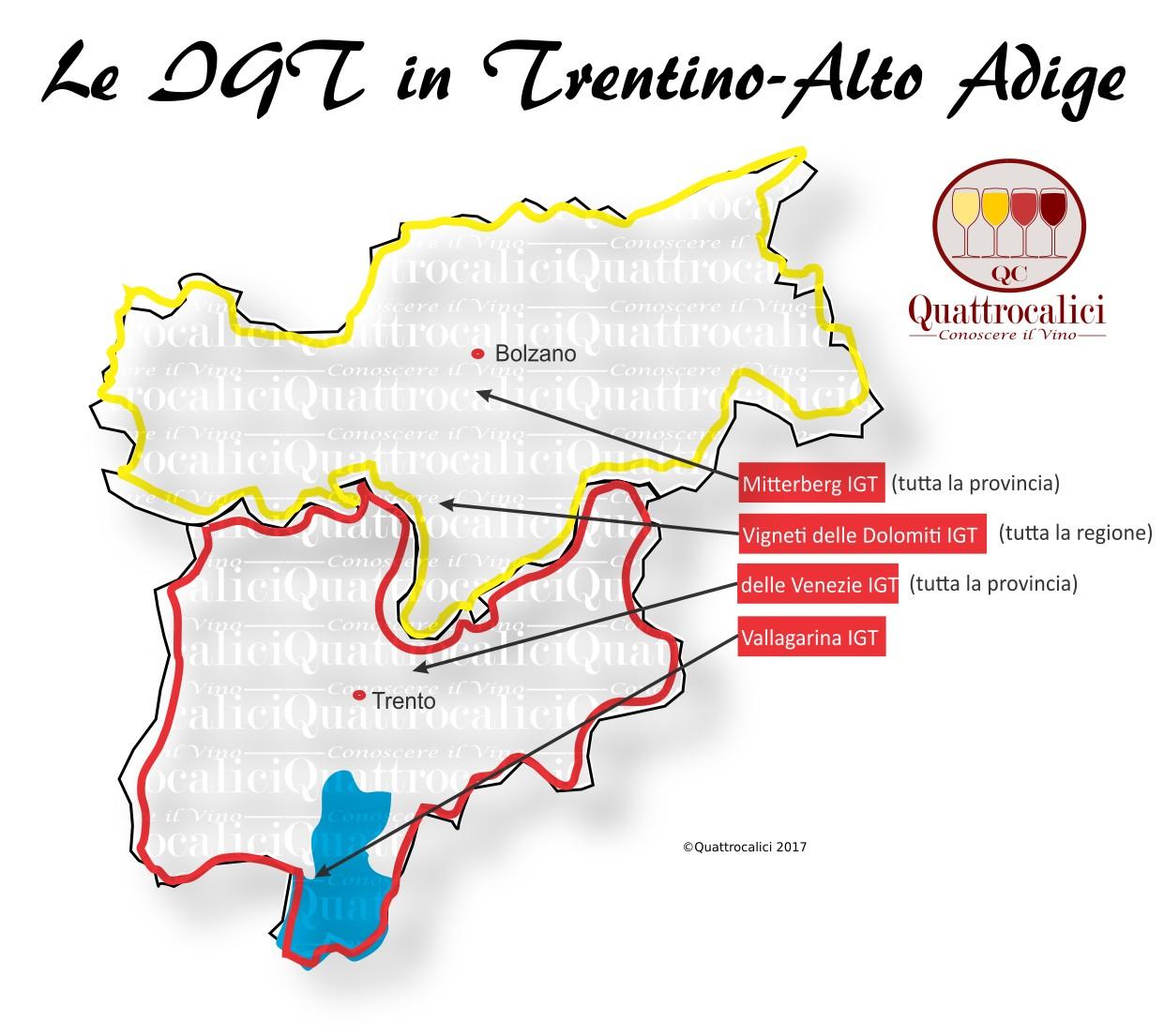 Mappa Denominzioni IGT Trentino-Alto Adige
