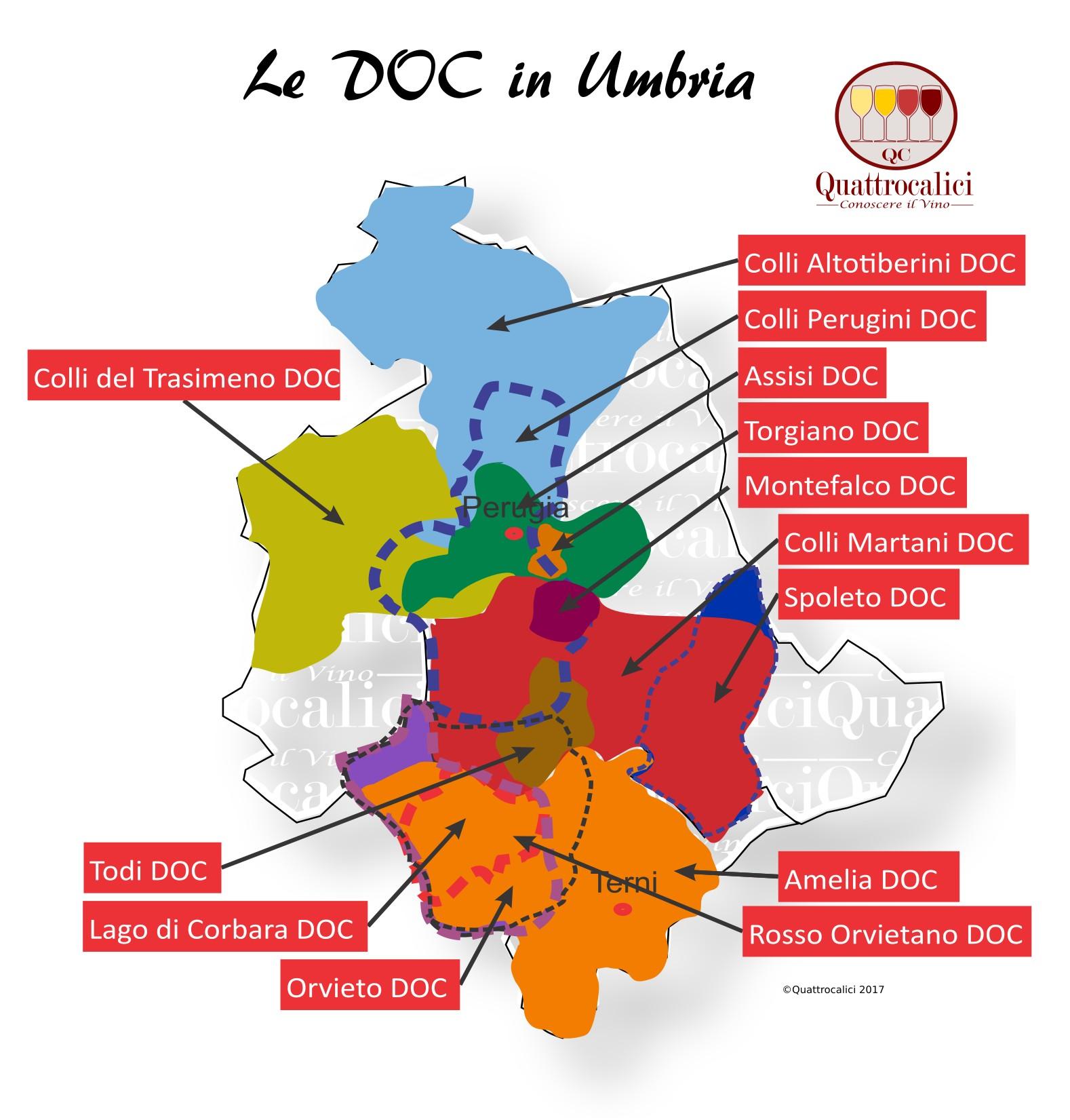 Mappa Denominzioni DOC Umbria