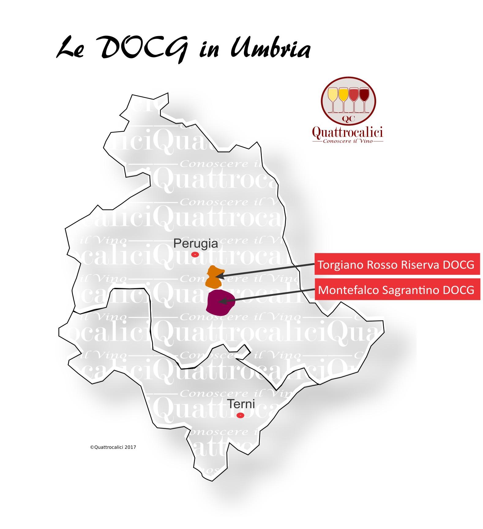 Mappa Denominzioni DOCG Umbria