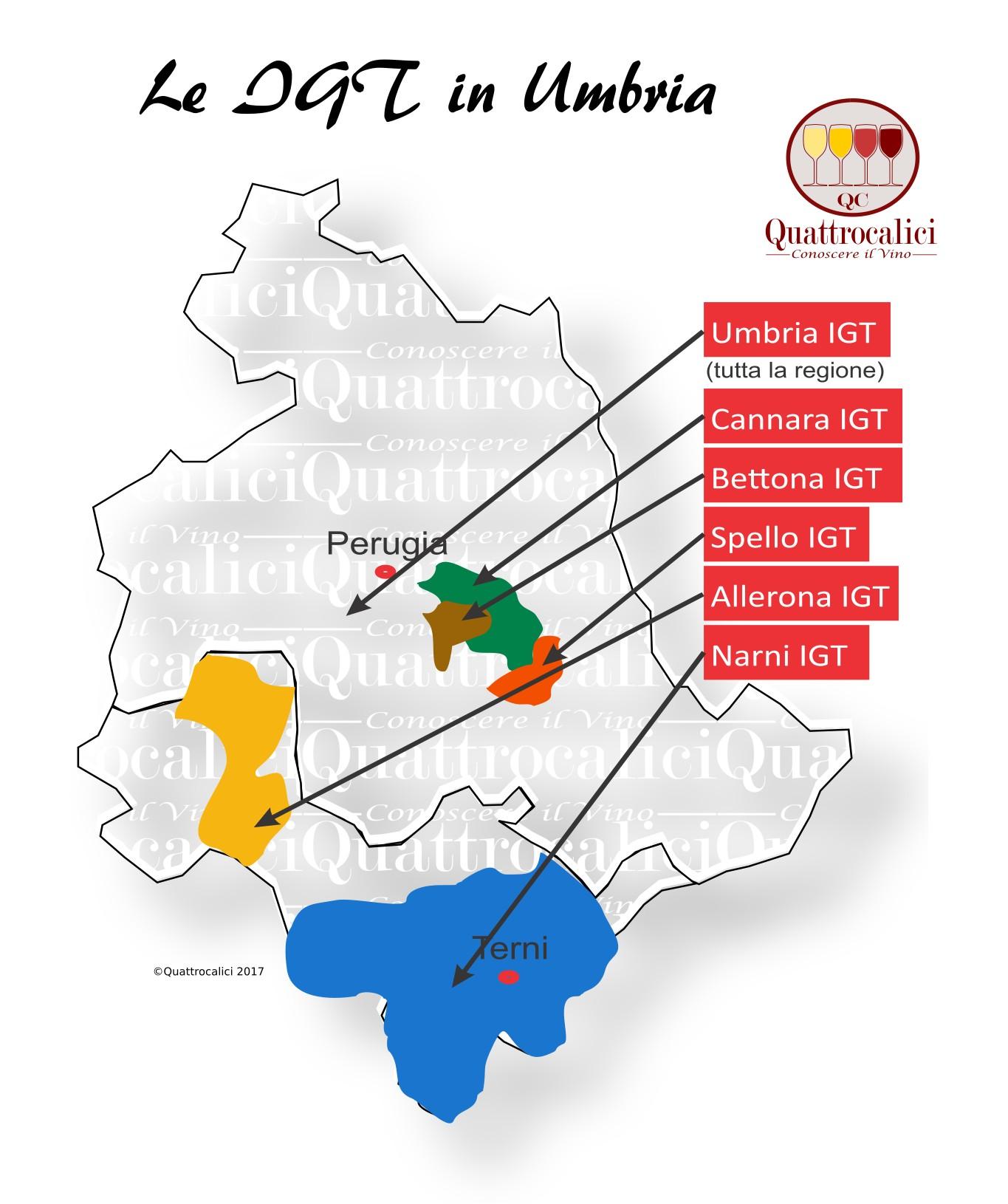 Mappa Denominzioni IGT Umbria