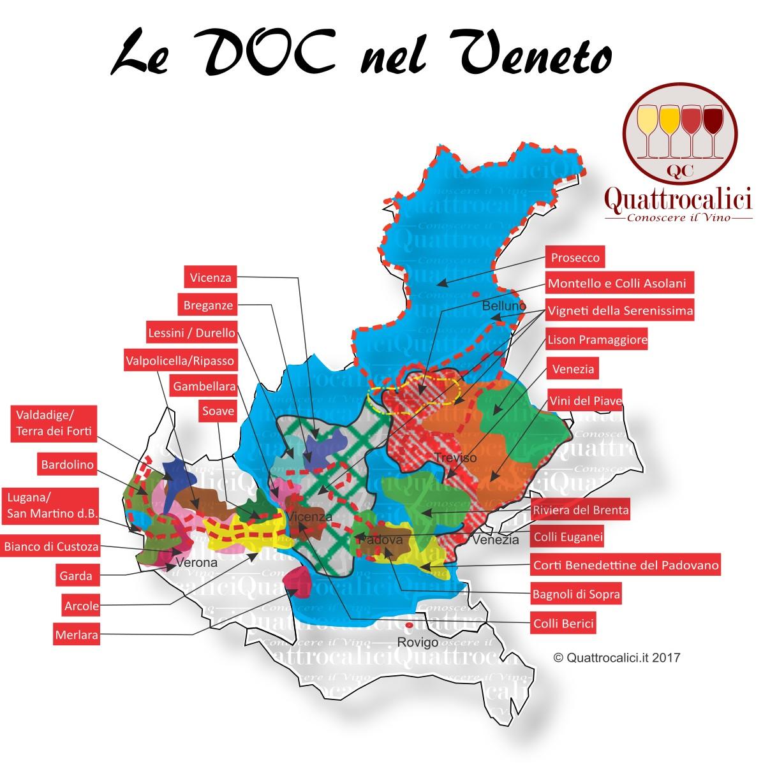 Mappa Denominazioni DOC Le Denominazioni di Origine in Veneto