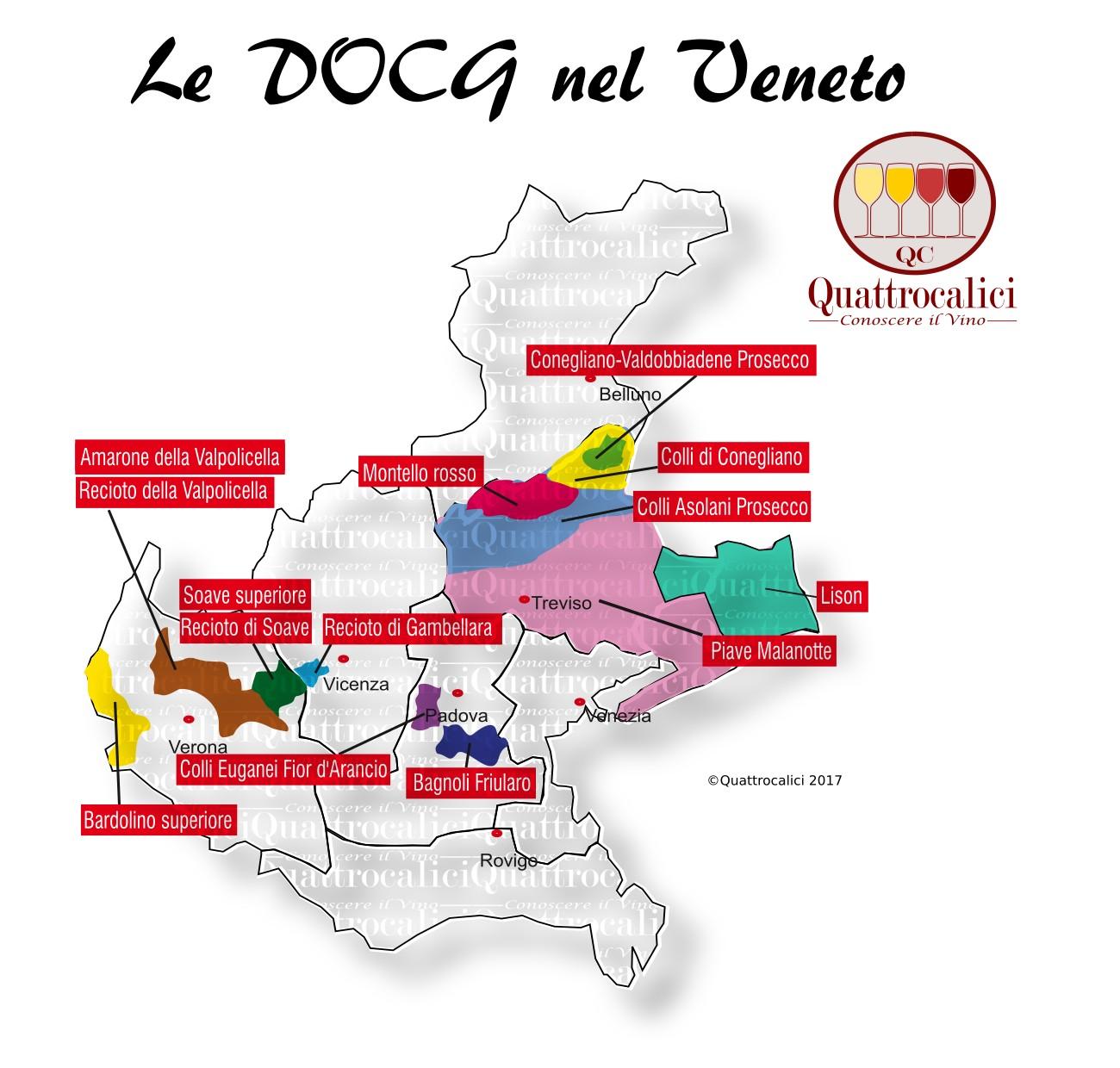 Mappa Denominazioni DOCG Le Denominazioni di Origine in Veneto