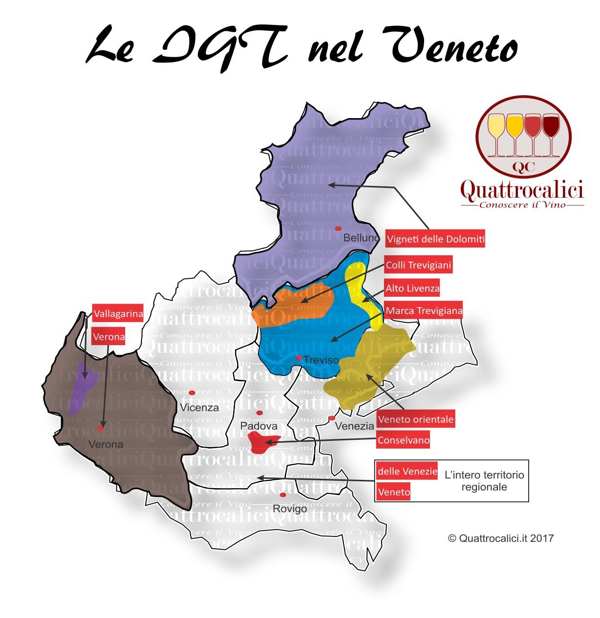 Mappa Denominazioni IGT Le Denominazioni di Origine in Veneto