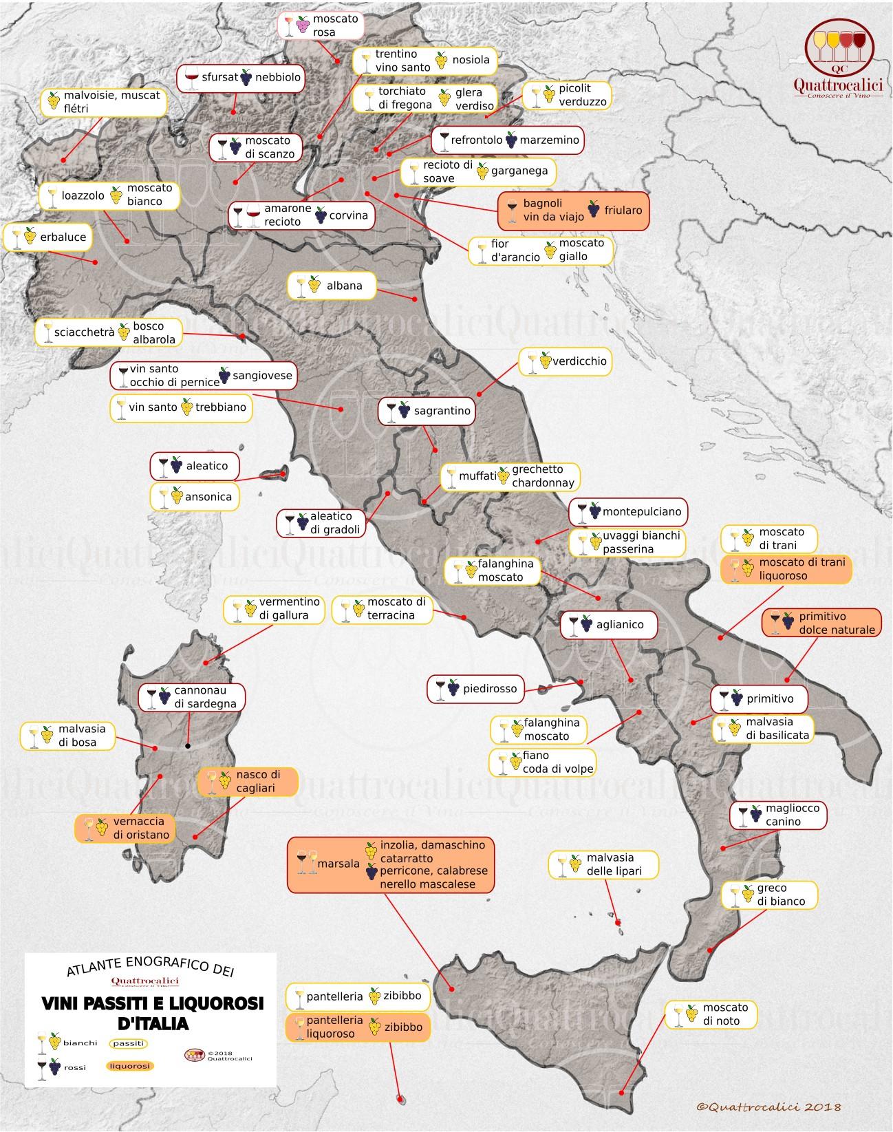 Cartina dei Vini Passiti e Liquorosi d'Italia