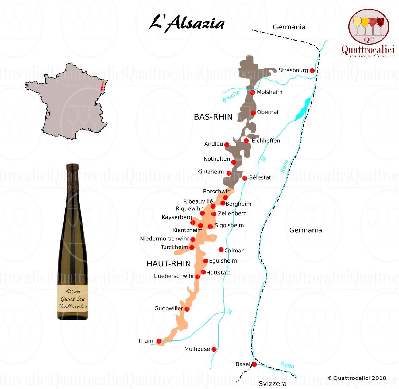 Alsazia - zone di  produzione del vino