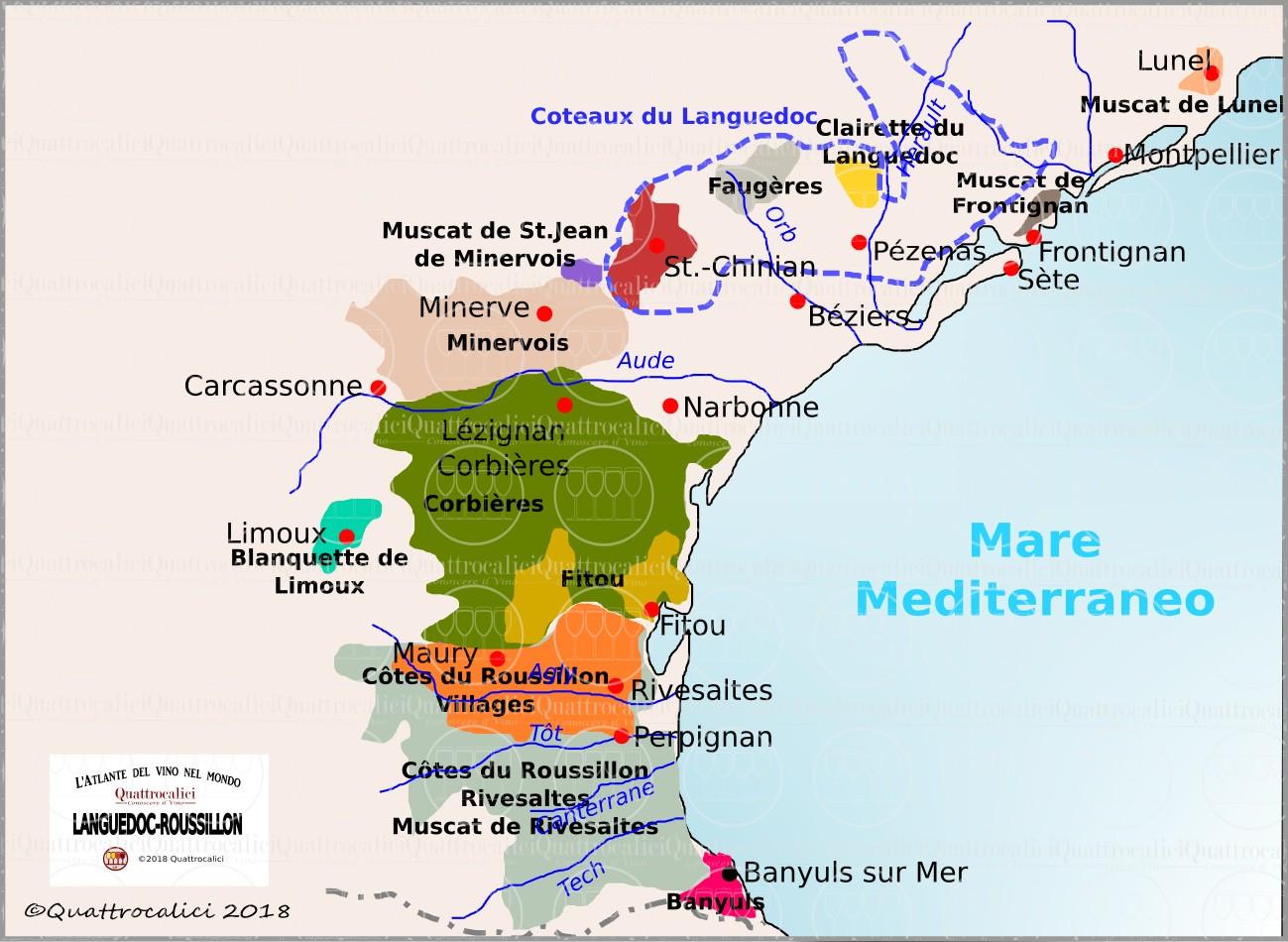Cartina Vini Francia.Languedoc Roussillon Conoscere Il Vino Quattrocalici