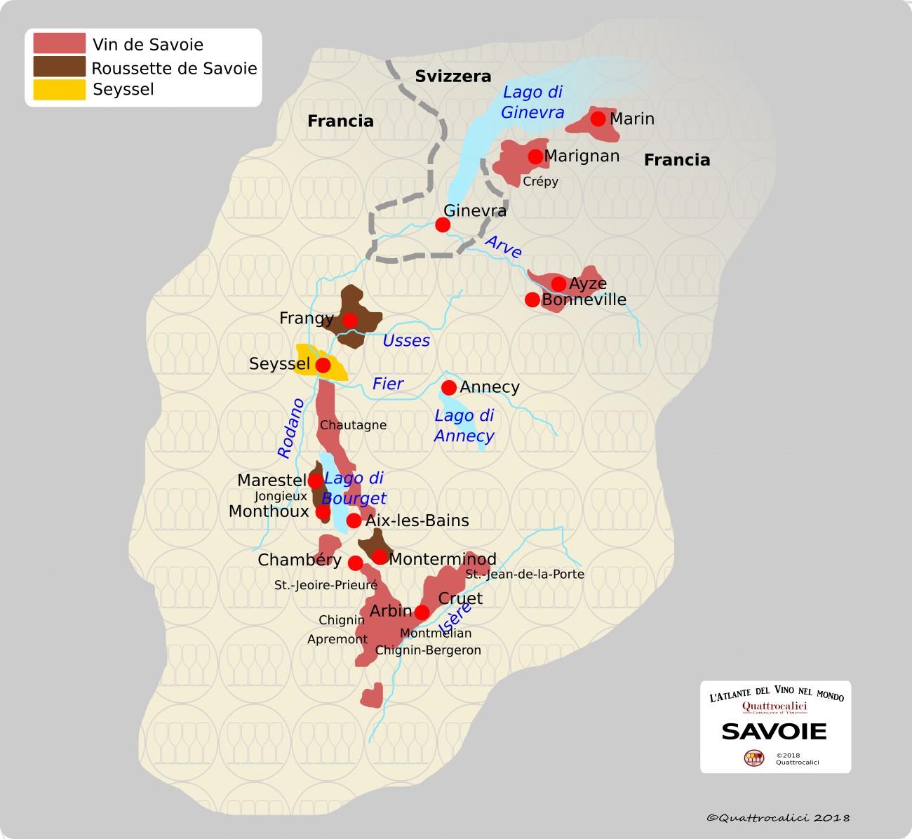 cartina vini della savoia