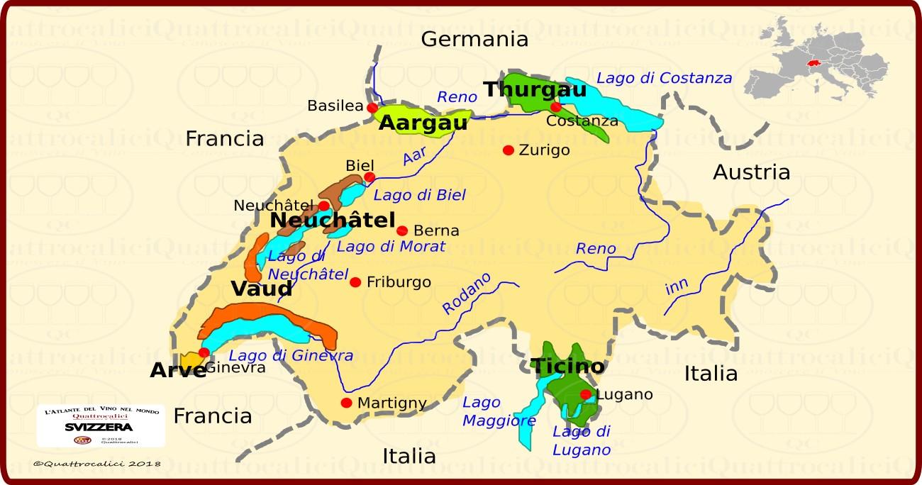 Svizzera Cartina Geografica Cantoni.Svizzera Quattrocalici Conoscere Il Vino