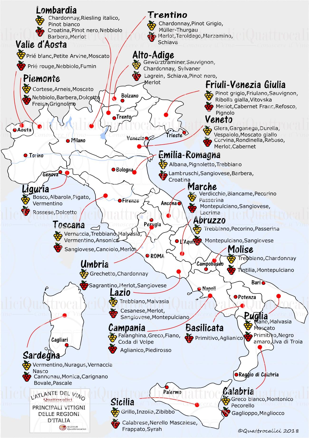 I vitigni d'Italia. Cartina dei vitigni italiani.