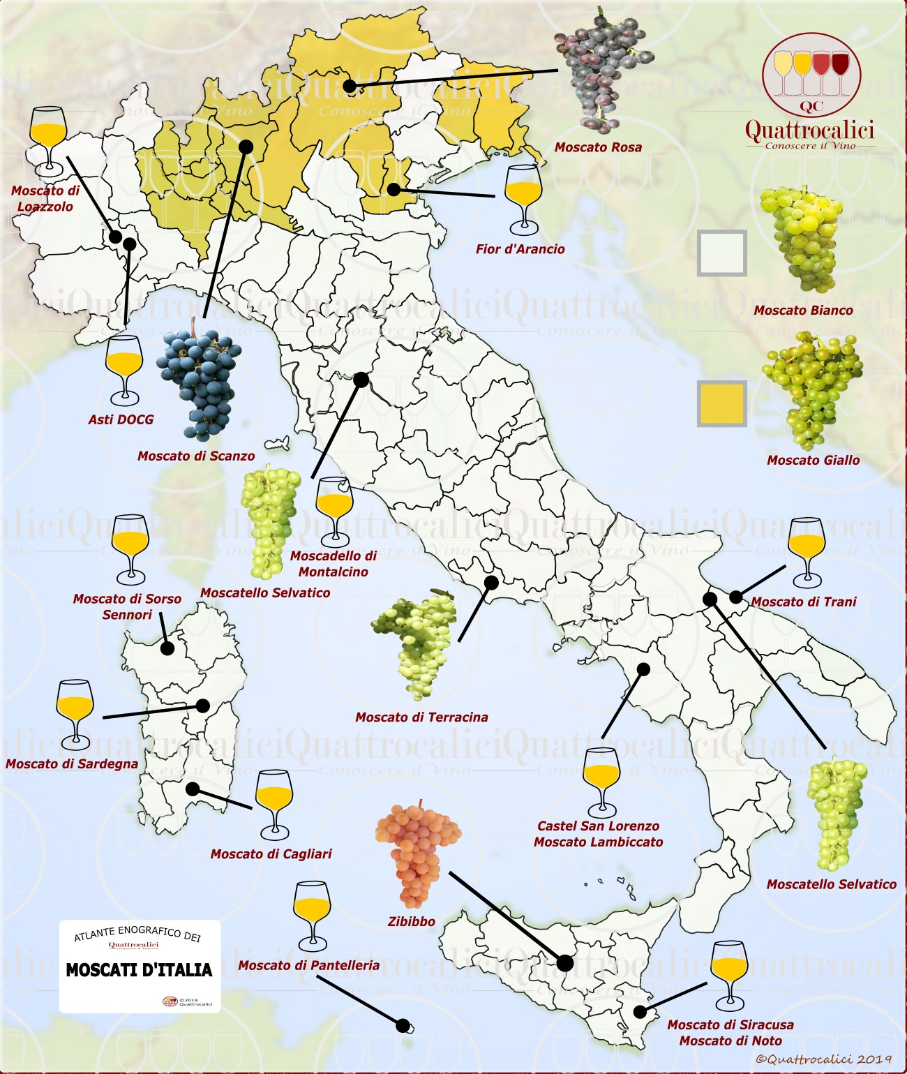 Moscato - Cartina dei Moscati d'Italia