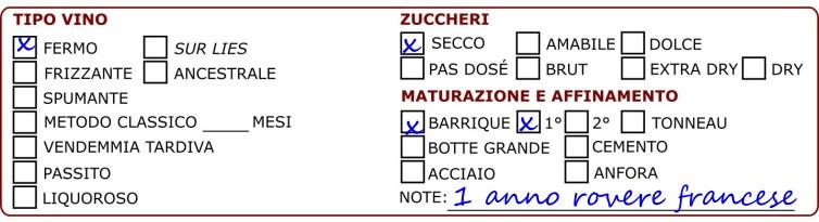 La scheda degustazione vini, carattteristiche vino