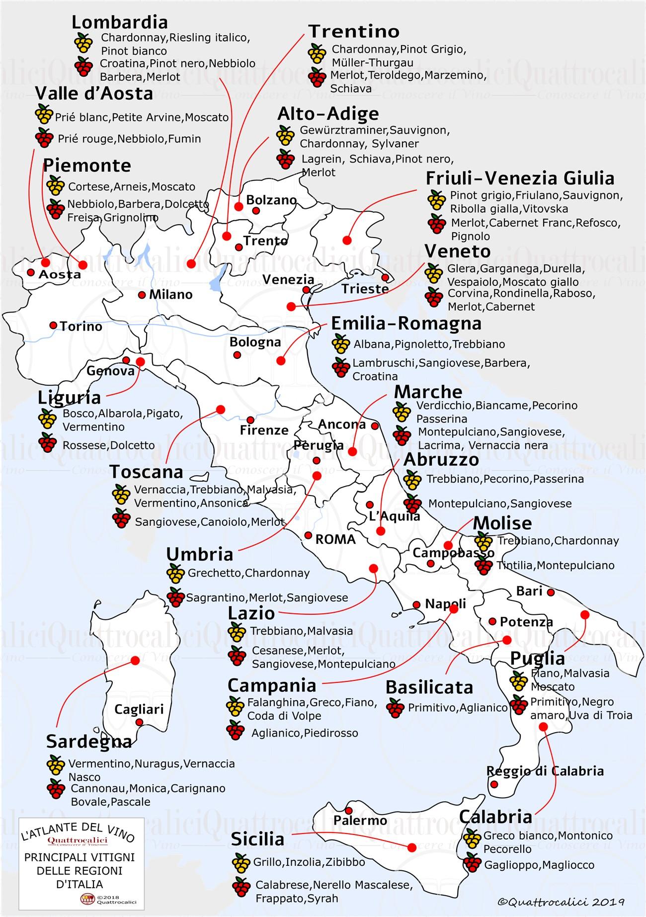italia cartina vitigni