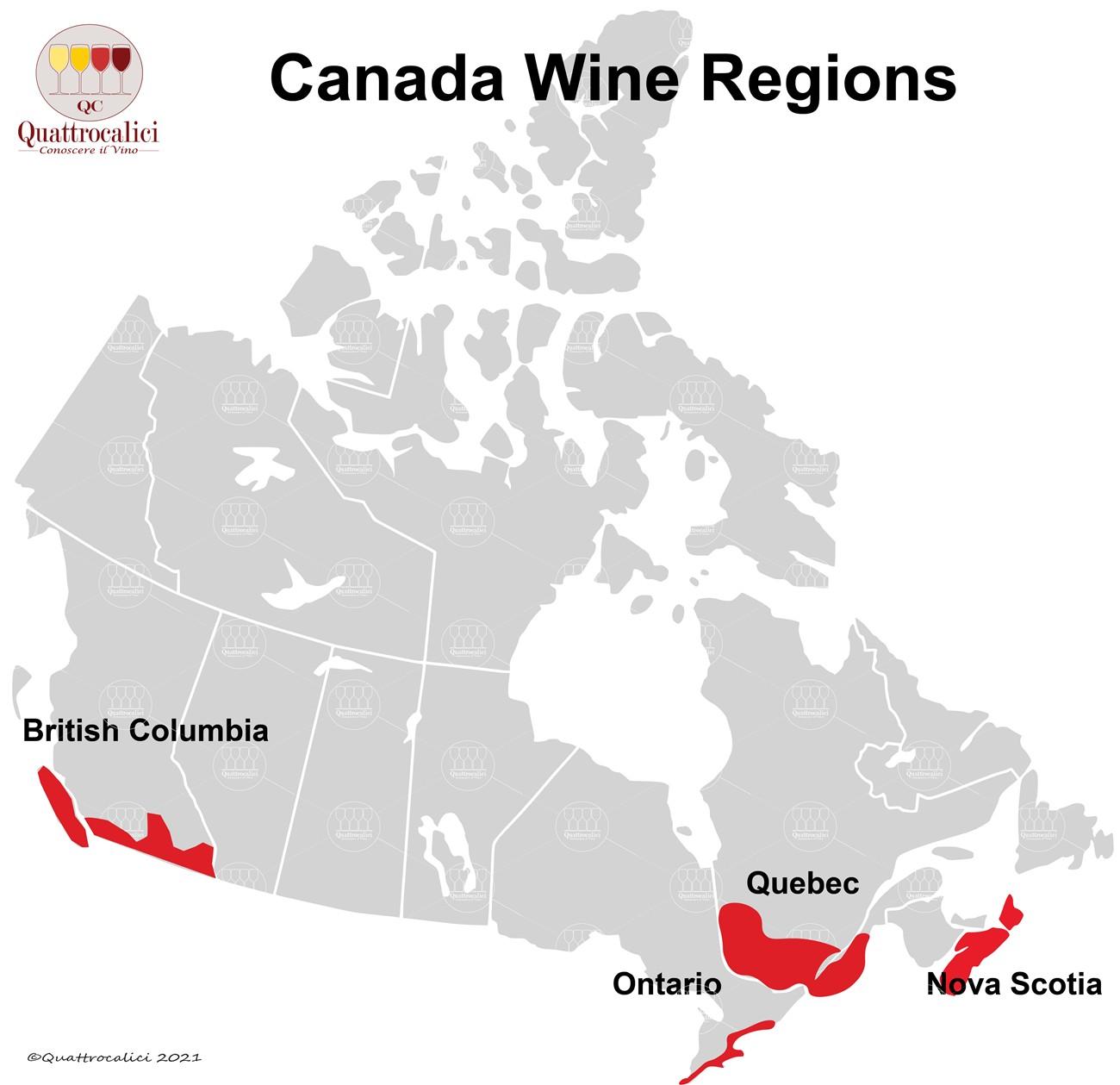 canada cartina vino