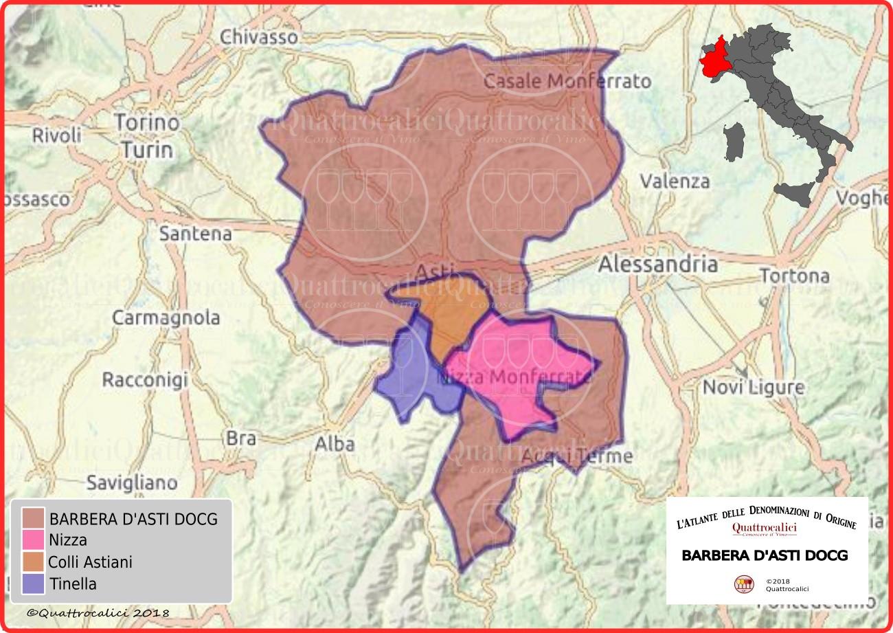 Cartina Barbera d'Asti DOCG