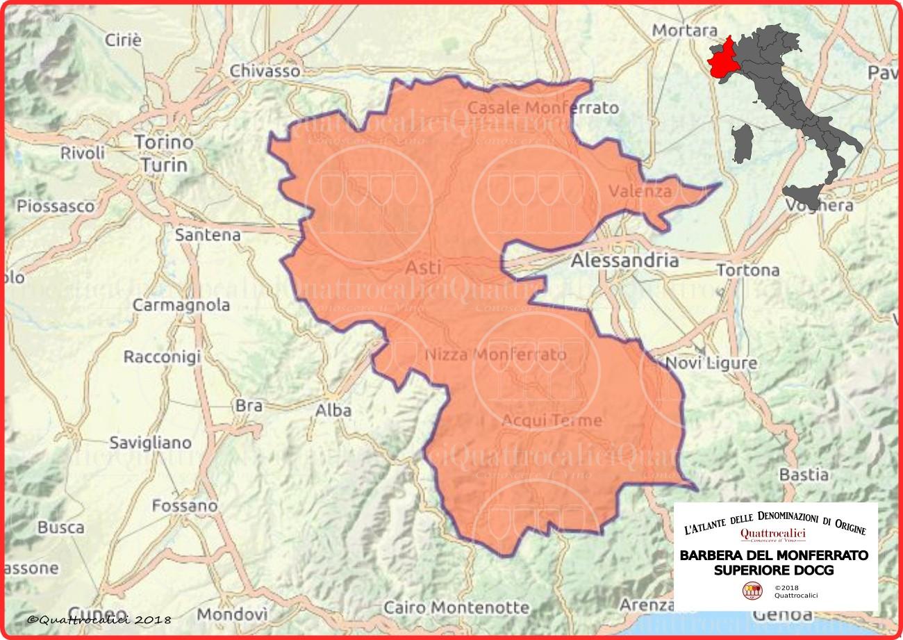 Cartina Barbera del Monferrato Superiore DOCG