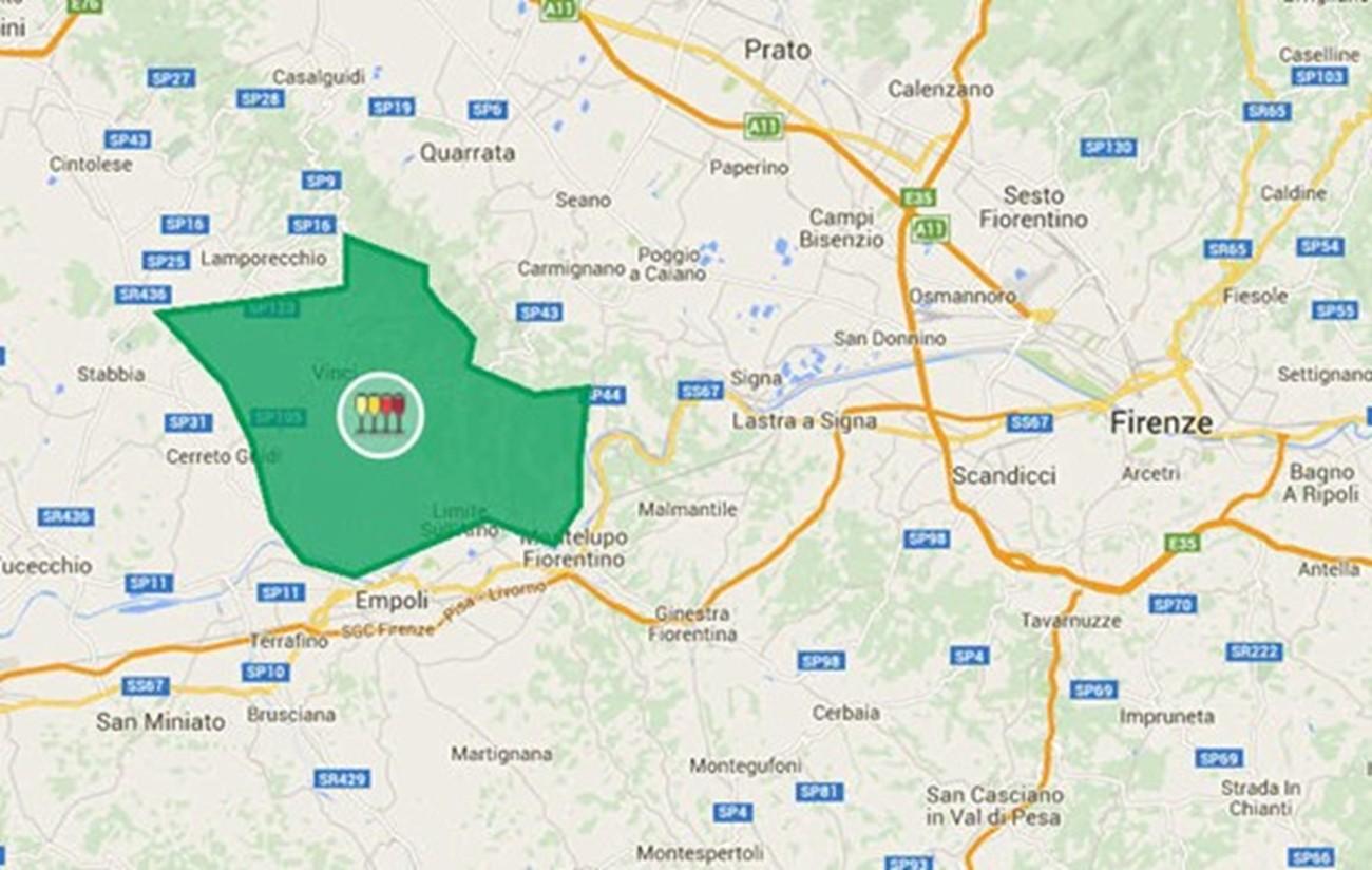 Chianti DOCG sottozona Montalbano cartina