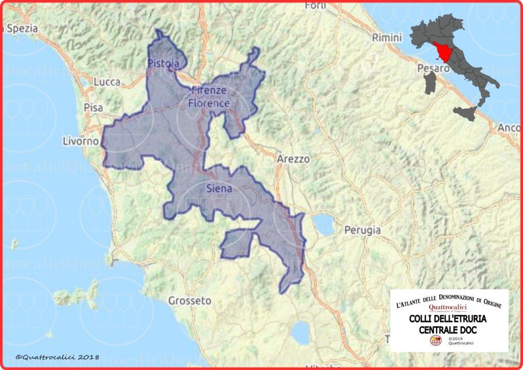 Cartina Colli dell'Etruria Centrale DOC