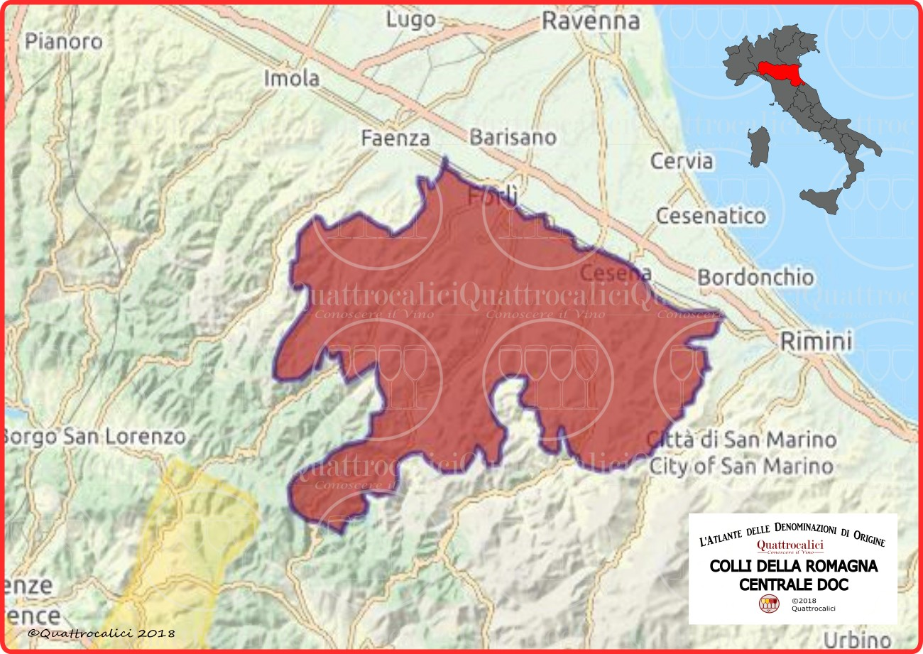 Colli Romagna centrale DOC cartina