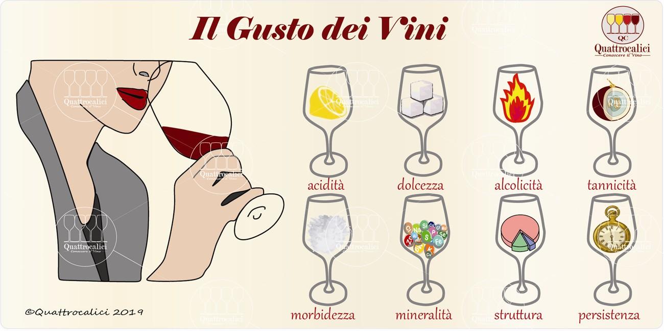 esame gustativo e gusto del vino