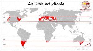 Zone di ccoltivazione della vite nel mondo