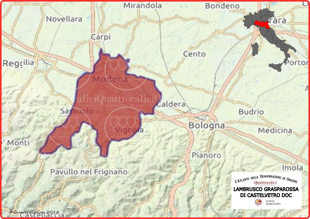 Lambrusco Grasparossa di Castelvetro DOC cartina