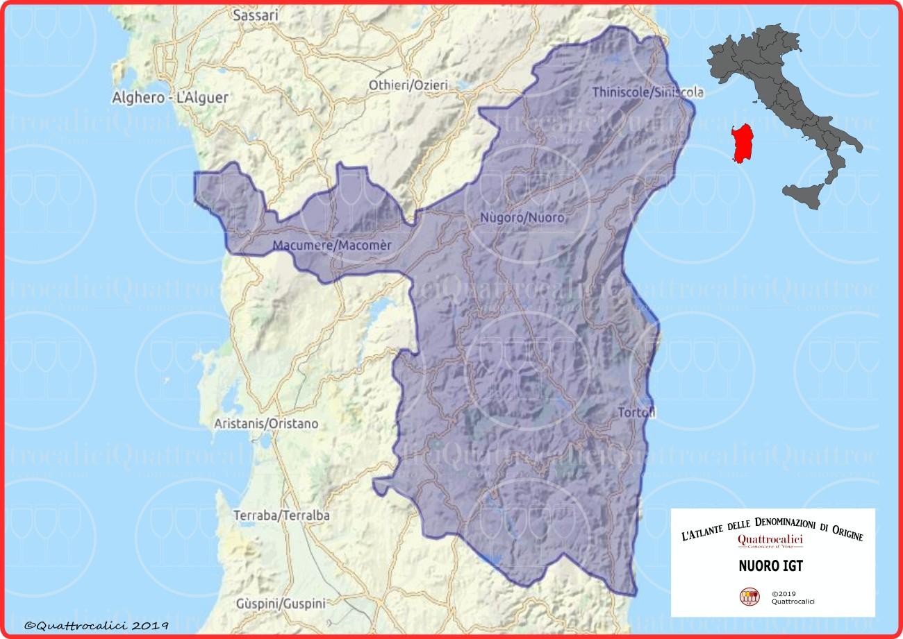 Sardegna Cartina Province.Provincia Di Nuoro Igt Quattrocalici Tutte Le Igt Della Regione Sardegna