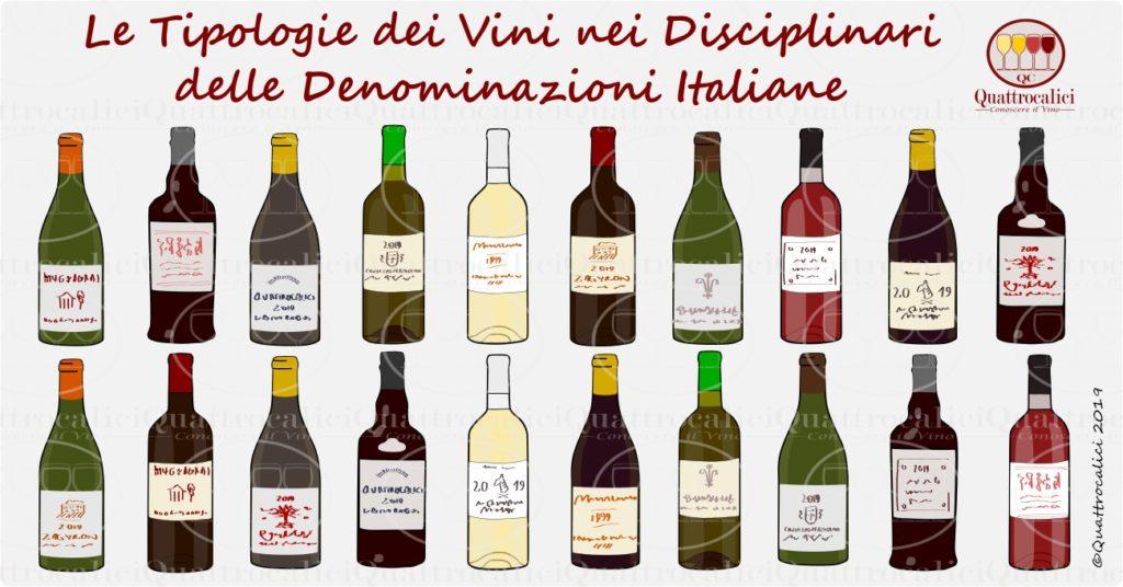 tipologie di vino dai disciplinari delle denominazioni
