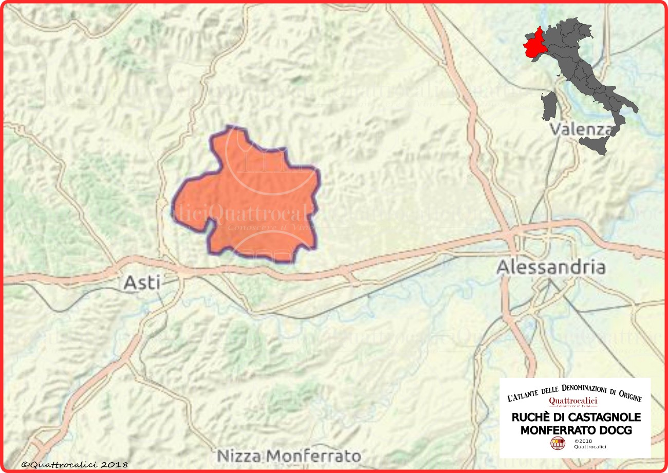 Cartina Ruchè di Castagnole Monferrato DOCG
