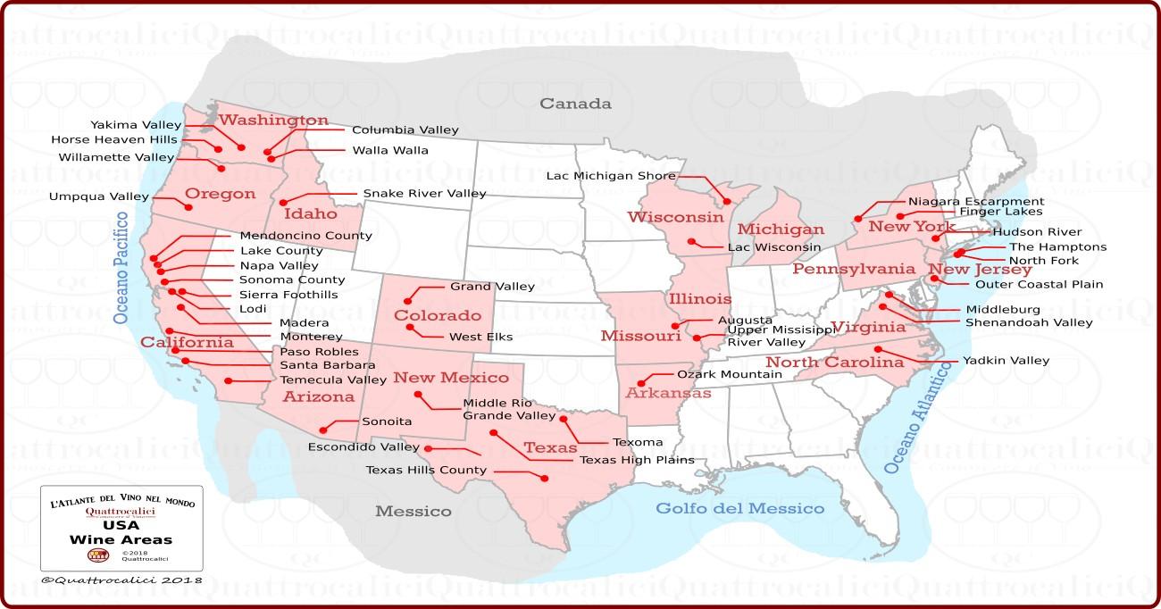 Gli Stati Uniti (USA) e il vino