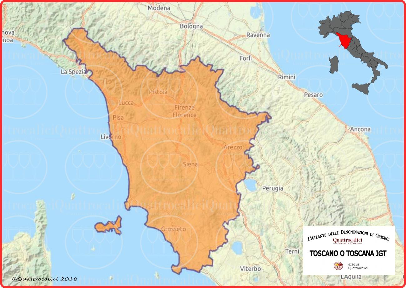 Toscano o Toscana IGT cartina