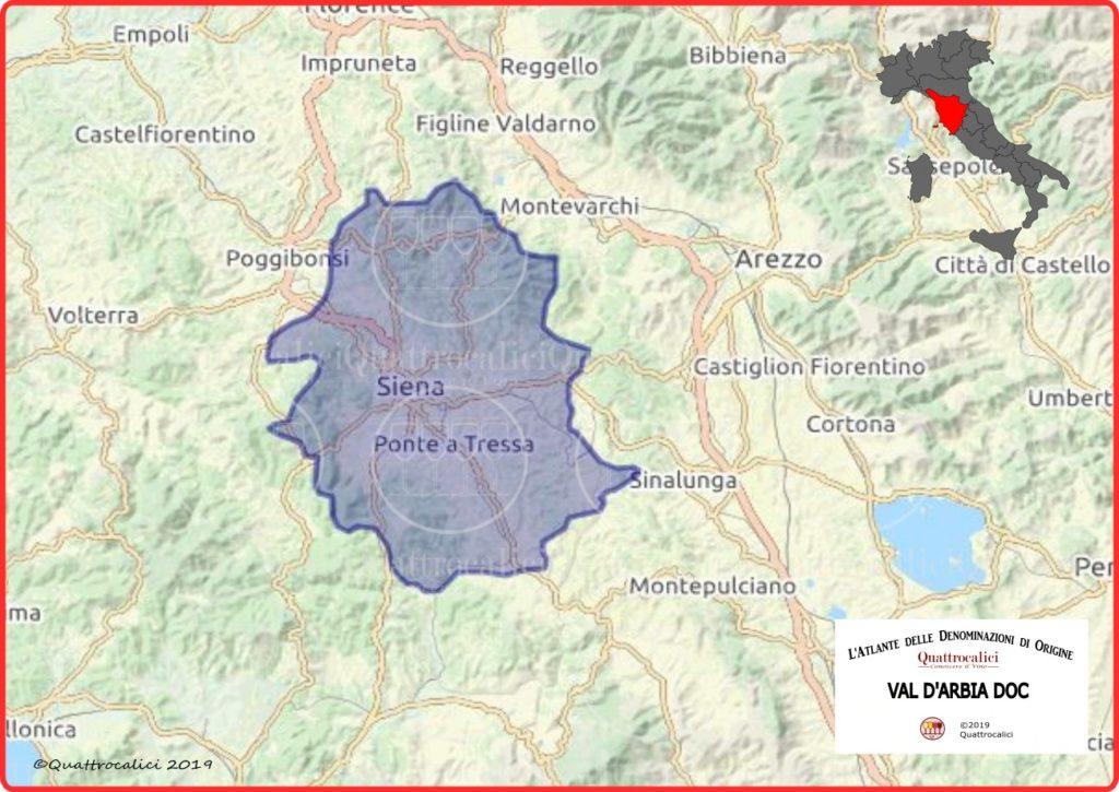 Cartina Val d'Arbia DOC