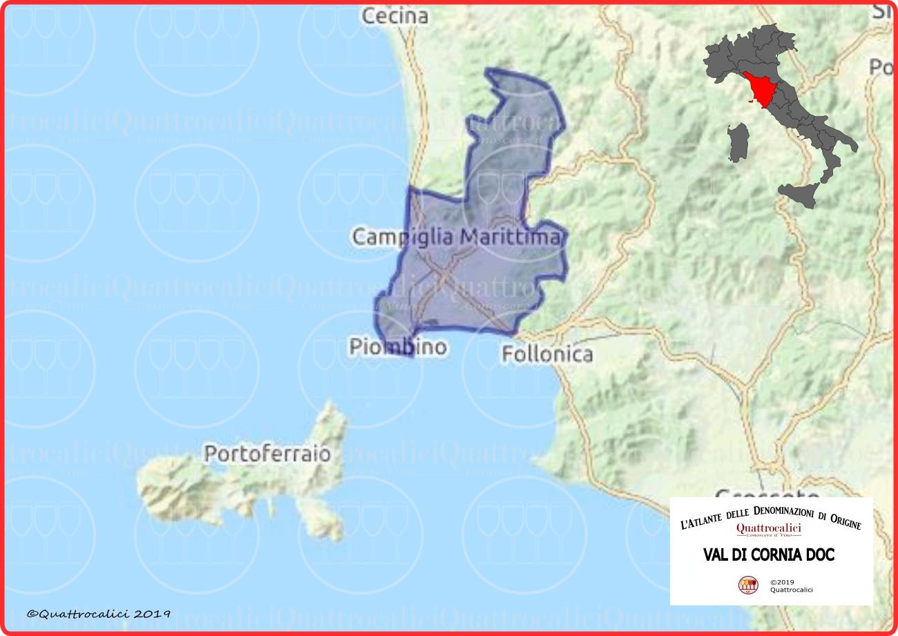 Cartina Val di Cornia DOC