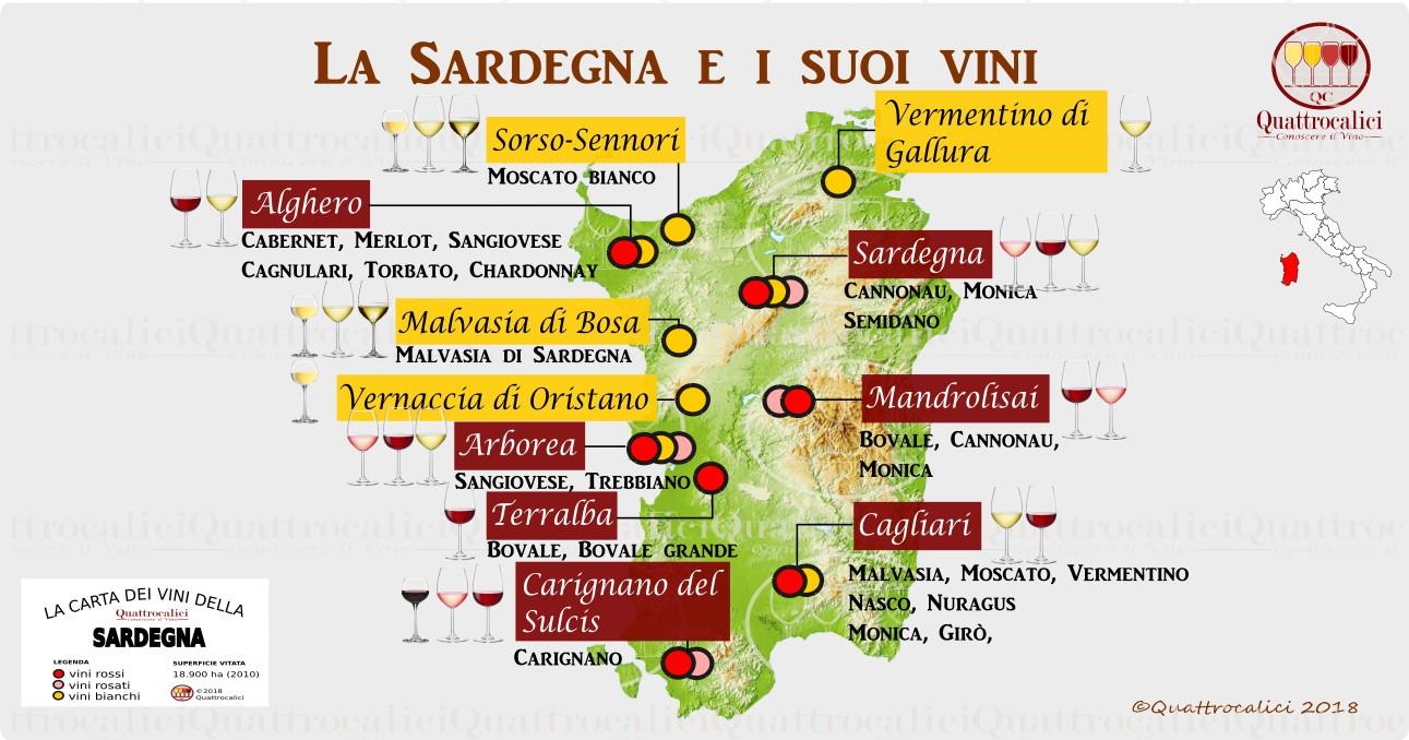 Cartina Sardegna Grande.Sardegna Quattrocalici Le Regioni Del Vino